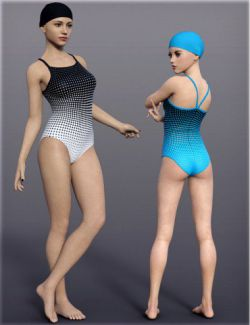 H&C One Piece Training Swimsuit for Genesis 8 Female(s)