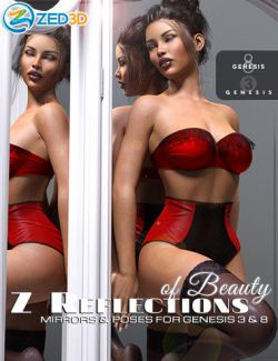 Z Reflections of Beauty Mirrors and Poses for Genesis 3 and 8