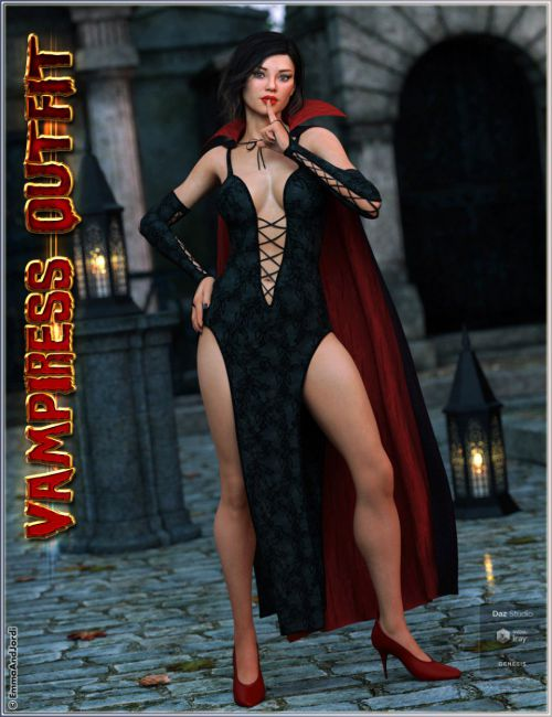 dForce Vampiress Outfit and Poses For Genesis 8 Female(s)