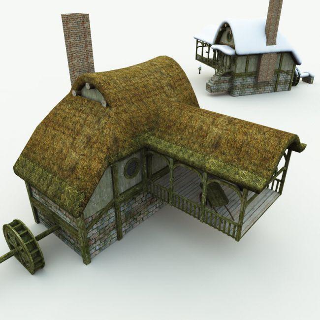 Halfling Village Watermill for Blender
