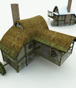 Halfling Village Watermill for Poser