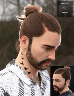 Yvanovich Bun Hair and Beard for Genesis 8 Male(s)