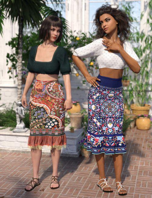 dForce Boho Ruffle Dress Textures