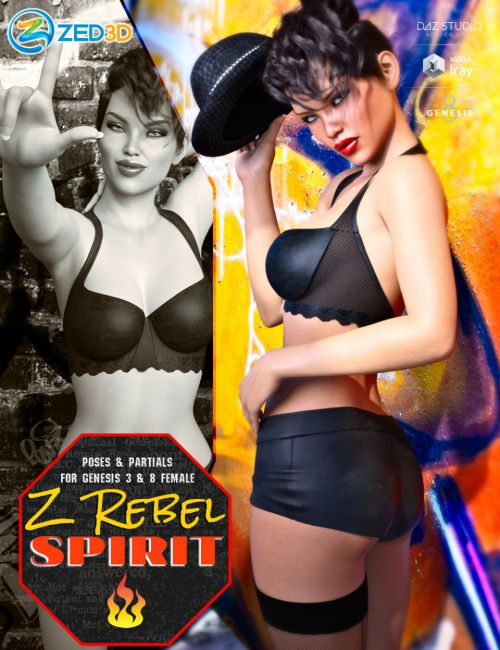 Z Rebel Spirit Poses and Partials for Genesis 3 and 8 Female