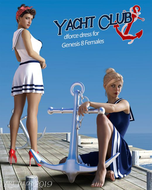 Yacht Club dForce dress for Genesis 8 Females