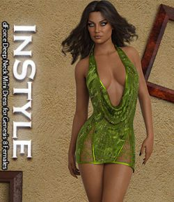 InStyle- dForce Deep Neck Mini Dress for Genesis 8 Females