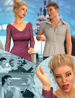 Z Real Conversation Poses Partials and Expressions for Genesis 3 and 8