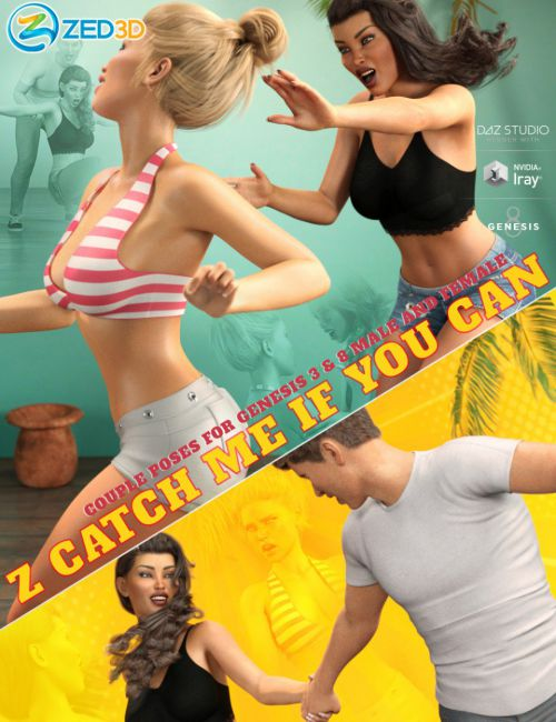 Z Catch Me If You Can Couple Poses for Genesis 3 and 8