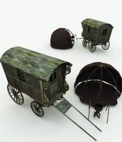 Gypsy Wagon and Camp for Blender