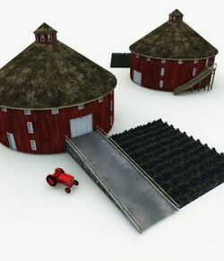 Round Barn and Antique Tractor for Blender