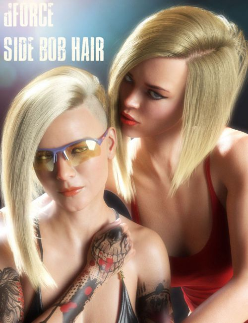 dForce Side Bob Hair for Genesis 8 Female(s)