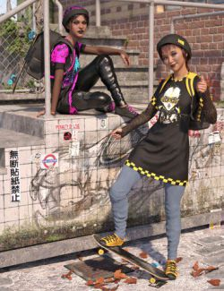 dForce Skate Punk with Skateboard for Genesis 8 Female(s)