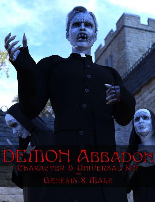 Demon Abbadon Character & Universal Kit for Genesis 8 Male