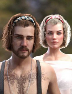 Sayrion Headband Hair Set for Genesis 8 Male(s) and Female(s)