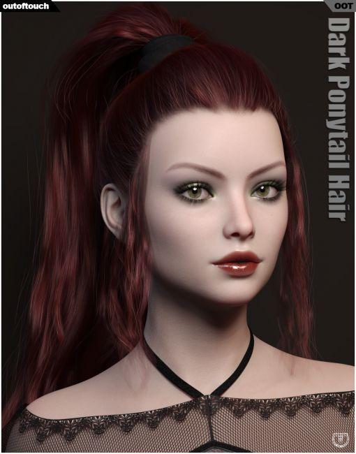 Dark Ponytail Hair for Genesis 3 and 8 Female
