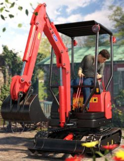 Mini Digger Excavating Poses for Genesis 8
