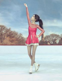 dForce Ice Skating Princess Outfit and Rink for Genesis 8 Female(s)