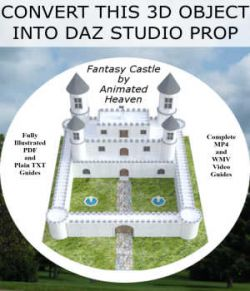 3D MODEL CONVERSIONS, Fantasy Castle OBJ to Daz Studio PROP