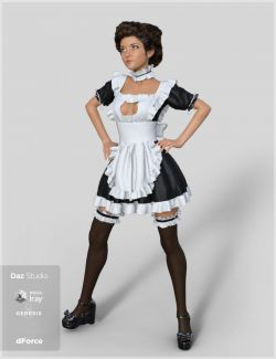dForce French Maid Servant Outfit for Genesis 8 Female(s)