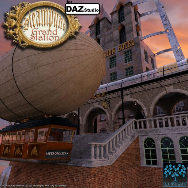 Steampunk Grand Station for Daz