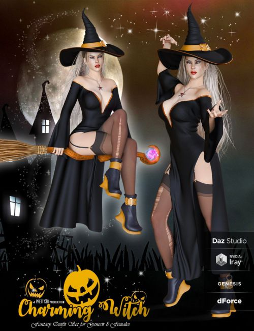 dForce Charming Witch Outfit for Genesis 8 Female(s)