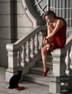 dForce Red Dress for Genesis 8 Female(s)
