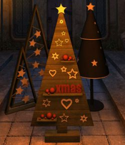 Four Christmas trees for Daz Studio