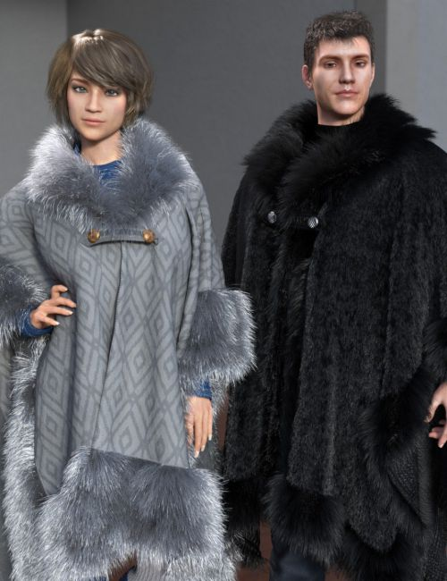 dForce Real Fur Poncho for Genesis 8