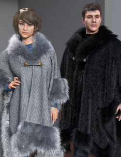 dForce Real Fur Poncho for Genesis 8