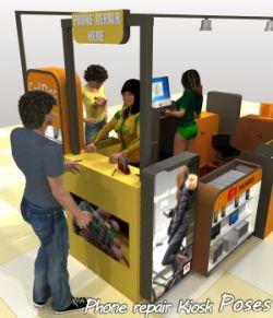 The Mall Phone repair Kiosk poses