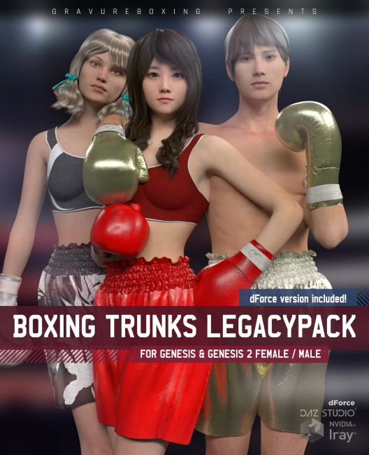 Boxing Trunks LegacyPack for Genesis and Genesis 2 Female and Male