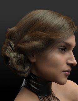 dforce Side Swept Updo Hair for Genesis 3 and 8 Female(s)