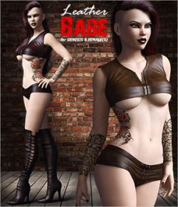 Leather Babe Outfit Set for Genesis 8 Females