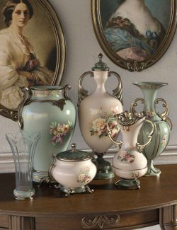 Florals for Rococo Vases Iray