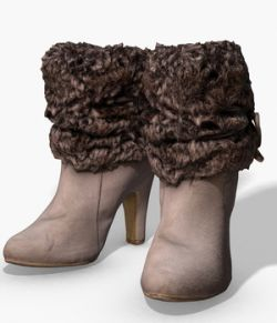Fur Trim Heel Boots- Photoscanned PBR- Extended License