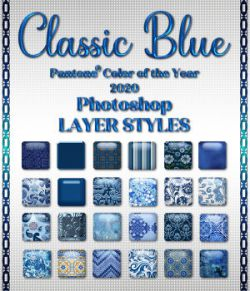 Classic Blue PS Layer Styles Variety