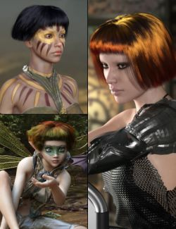 MRL dForce Bob Hair for Genesis 8 Female with Colour Mix Plus