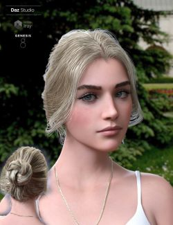 Aurelia Bun Hair for Genesis 8 Female(s)