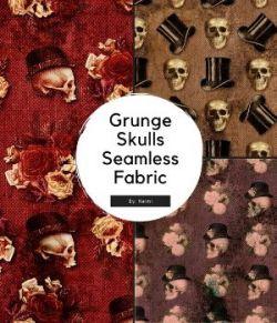 15 Grunge Skulls Seamless Fabric