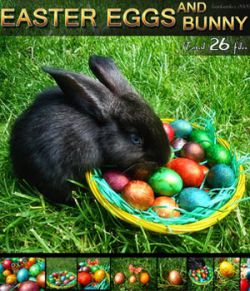 Easter Eggs and Bunny - 2D backgrounds and PNG