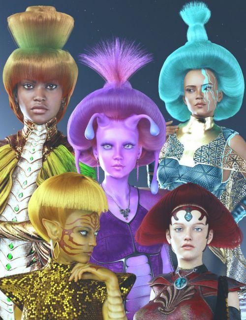 dForce Galactic Empress Hair Styles for Genesis 8 Female(s)