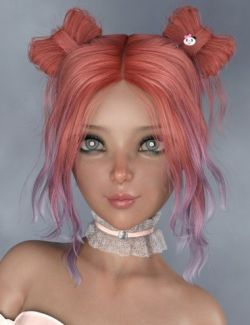 Asuka - Space Buns Hair for Genesis 3 and 8 Female(s)
