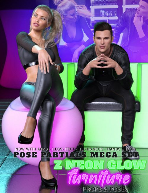 Z Neon Glow Furniture and Pose Mega Set for Genesis 3 and 8