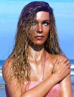 Long Wet Hair with dForce for Genesis 8