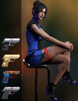 Spy Pistol and Garter for Genesis 8 Female