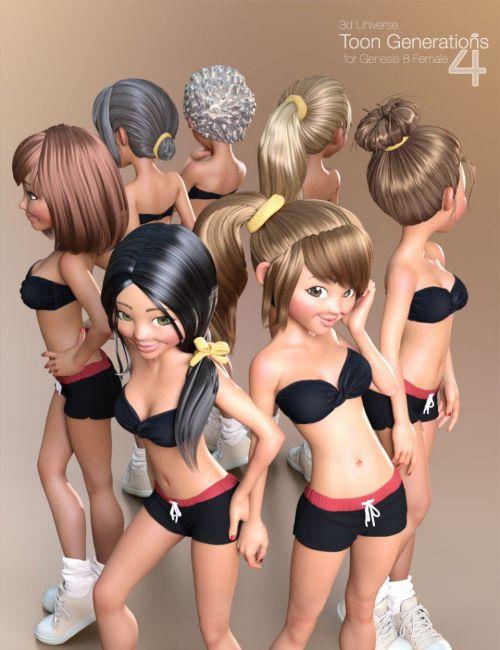 Toon Generations 4 Hair for Genesis 8 Female(s)