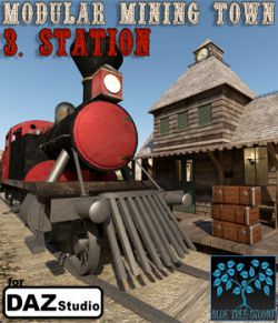 Modular Mining Town: 3. Station for Daz Studio