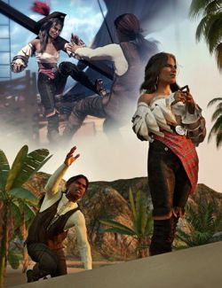 SBibb Dreadful Pirate Captain Poses and Expressions for Genesis 8
