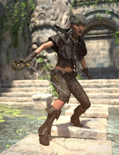 dForce Buccaneeress Pirate Outfit for Genesis 8 Female (s)