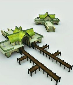 Elven Village Dock for Poser